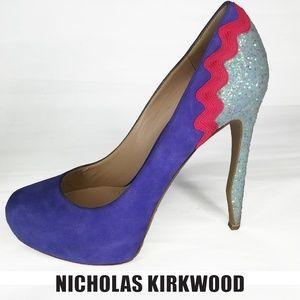 Nicholas Kirkwood Purple Glitter Heels SZ 38 Italy